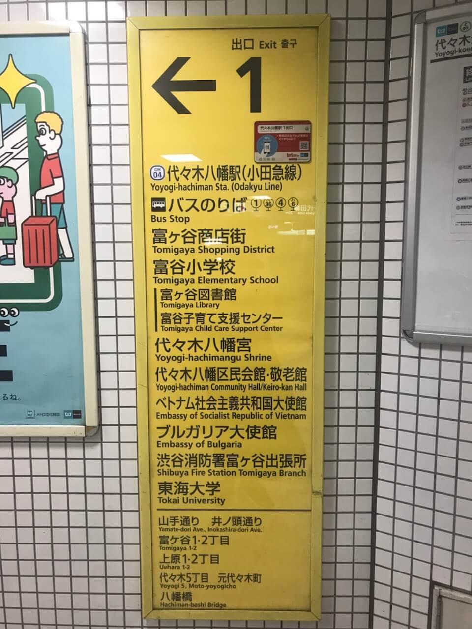 東京メトロ千代田線「代々木公園駅」からのアクセス